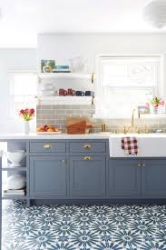 blue grey kitchen cabinets.  Grey Emily Henderson Blue Grey Kitchen With Concrete Tiles In Bold Pattern In Blue Grey Kitchen Cabinets K