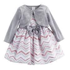 Baby Girl Youngland Glittery Chevron Dress Velvet Shrug