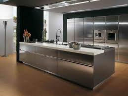 Awesome Wooden Floor With Modern Stainless Steel Kitchen Island For  Futuristic Kitchen Ideas