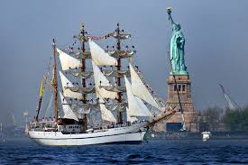 u s department of > photos > photo gallery the ian navy sail training ship bae guayas sails past the statue of liberty to participate