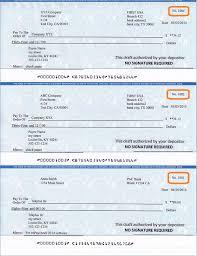 Sample Check Draft Printed By Ezcheckdraft Software