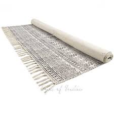 black off white block print flat weave woven area accent dhurrie cotton rug 4