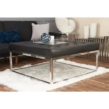litton lane modern black and silver on tufted coffee table