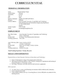 Telecommunication Resume Electrical And Electronics Engineer Resume Pdf Format E