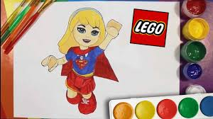 Dc Super Hero Girls Lego Supergirl Draw And Colour Coloring