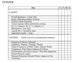 Image of the scoring rubric for the SP Outline