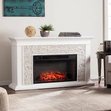 w faux stacked stone electric fireplace in white