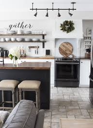 track lighting in kitchen. Our Kitchen Used To Be Pink Oak. We Gave It A Modern Farmhouse Makeover On Budget With Butcher Block, Ikea Cabinets \u0026 Shiplap. Track Lighting In