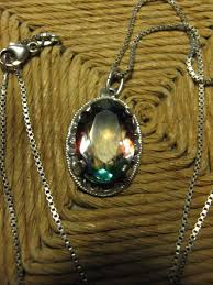 silver necklace with old art deco pendant mystic topaz