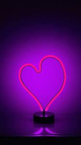 Purple neon light love heart iPhone X 8 ...