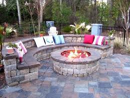 backyard stone bench ideas good backyard patio rustic house design with round diy brick fire