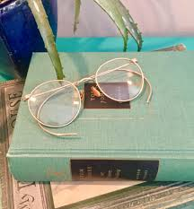 vintage gold wire rimmed eyeglasses with leather case vintage display eyeglasses vintage office decor vintage round wire rimmed glasses