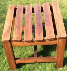 two teak wooden garden stools outdoor wood chair