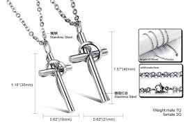 cross pendant necklace friend lover couple necklace gift titanium steel