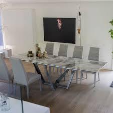 contemporary dining table metal porcelain stoneware rectangular