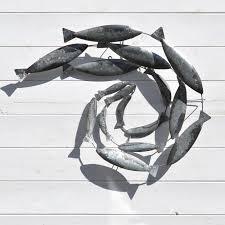 fish swirl wall art metal coastalhomecouk home garden
