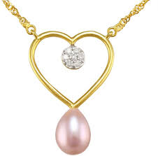 vp jewels 18k solid gold 0 07ct diamond and 7mm purple pearl heart pendant necklace souq uae
