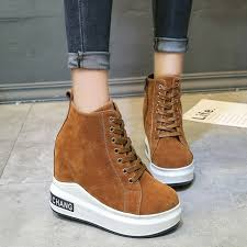 swyivy womens sneakers shoes platform 2018 autumn high top casual shoes female suede comfortable wedge canvas
