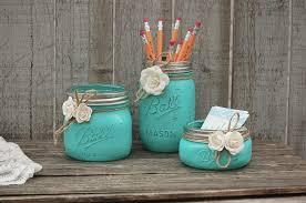 beach office decor. desk set mason jar aqua shabby chic pencil holder dorm office decor rustic teacher gift beach hand painted e