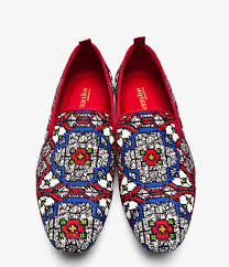 Red Designer Loafers Mens Alexander Mcqueen Red Woven Stained Glass Loafers Keep Your