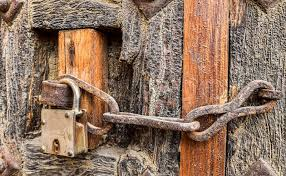 old styled rusty chain door lock on the wooden door of a house in jaisalmer rajasthan india stock photo colourbox
