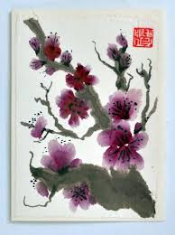 chinese sumi e ink plum blossoms original brush painting blank greeting card and envelope