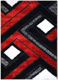 cool black red white contemporary design shaggy area rugs black white rug home