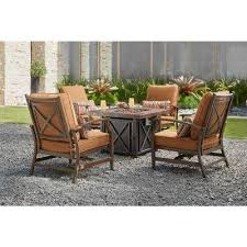 north lake 5 piece patio fire pit conversation set with sunbrella spectrum sierra cushions