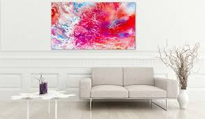 modern art prints colorful spiritual painting in warm red an purple bright pastel tones for