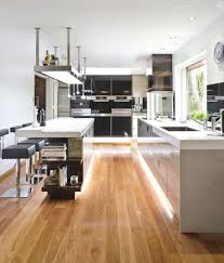 Oak Floor Kitchen Sophisticated Minimalist Kitchen With White Countertop And White