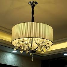 drum shade chandelier 9 lights black painting iron arms glass drum shade crystal chandelier