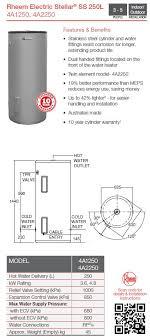 rheem 315 litre electric hot water. rheem 4a1250g8 stellar 250 litre 4.8kw 315 electric hot water