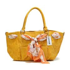 Coach Embossed Scarf Medium Yellow Totes Outlet Online