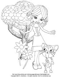 Girl And Kitty Cat Free Coloring Pages For Kids Printable