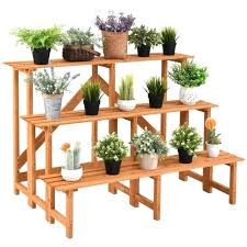 wooden plant stand 3 tier wide wood plant stand flower pot holder display rack shelves step wooden plant stand