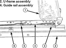 2003 chevrolet truck blazer 4wd 4 3l fi ohv 6cyl repair guides view of the sunroof guide rail assembly in the lock position raised above the u frame assembly