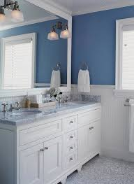white bathrooms | ... bathroom sconces, white and blue bathroom, beadboard  bathroom