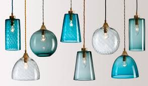 interior blue glass pendant light shades for kitchen