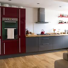 Awesome Red And Grey Kitchen Cabinets Hi Gloss Kitchen Cabinet And Wooden  Flooring Teamed With A