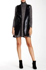 image of max studio faux suede lined faux leather vest