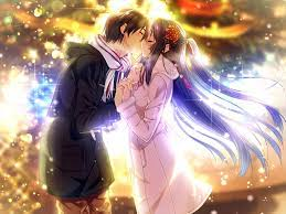Romance Anime Love couple kissing images HD