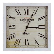 square mdf wall clock in distressed white wooden frame