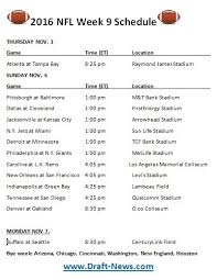 week schedule print out printable 2016 nfl week 9 schedule draft news