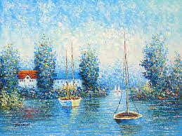 the lake of my village oil painting supplies