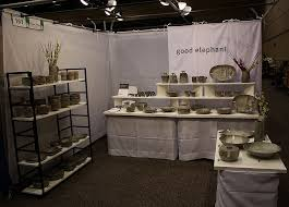 Pottery Display Stands Simple Streamlined Booth Display Excellent Setup For Ceramics And