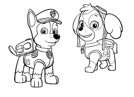 Paw Patrol Colouring Pages Chase Rubble Paw Patrol Coloring Page