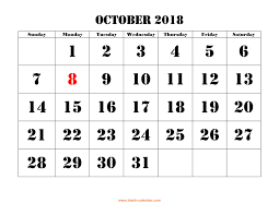 Printable October Calendar Free Download Printable October 2018 Calendar Large Font Design