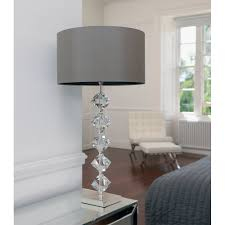 Modern Table Lamps For Bedroom Verdone Crystal Lamp In Silver Plate With A Mink Coloured Silk