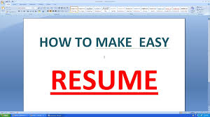 how to create resume in microsoft word how to make an simple resume in microsoft word youtube
