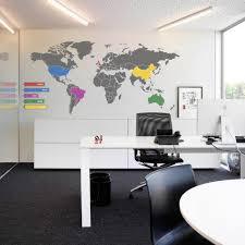 ideas work office wall. Office Wall Decor Ideas Work Space World Map Decal Modern White Table Ergonomic Chair Gray Rug Floor Melamine Cabinet Art Neon Lamp I